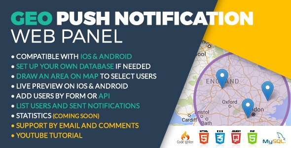 Geo Push Web Panel iOS & Android - CodeCanyon Item for Sale