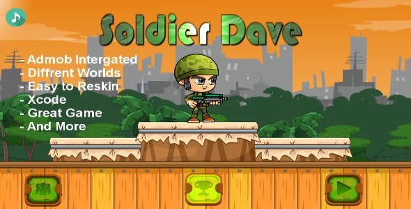 Soldier Dave - iOS - Android - iAP + ADMOB + Leaderboards +  Buildbox 2.0