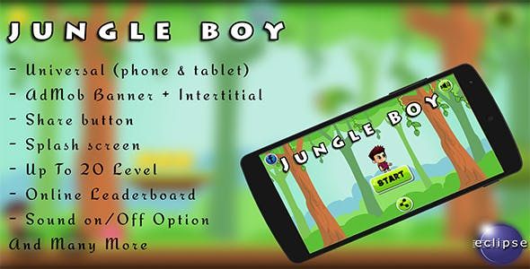 Jungle Boy Android game, Easy Reskin+Admob Ads and more !