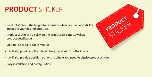 Product sticker Mangento2 extension