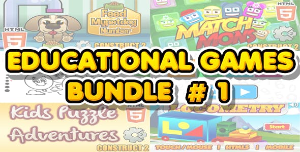 Educational Games Bundle #1 - 6 HTML5 Games (CAPX included)