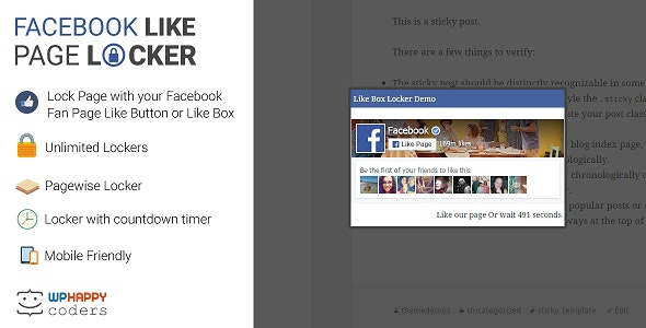 Facebook Like Page Locker - CodeCanyon Item for Sale