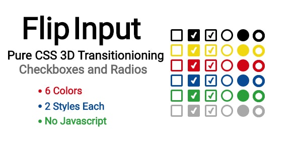 FlipInput: Pure CSS 3D Flipping Checkboxes and Radios by