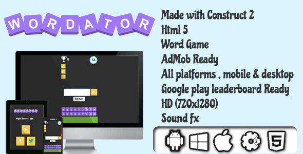 Wordator - HTML5 Word Game - AdMob Ready
