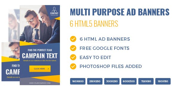 HTML5 Multi Purpose Banners - 6 Sizes