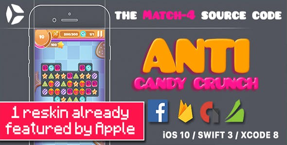 Anti Candy Crunch – the MATCH-4 Source Code - iOS 12 and Swift 4.2 ready