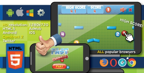 Fast numbers - HTML5 game (capx) + Cocoon ADS - CodeCanyon Item for Sale