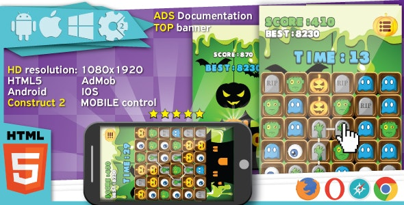 Halloween Match3 game - Construct2 (.capx) + cocoon ADS - CodeCanyon Item for Sale