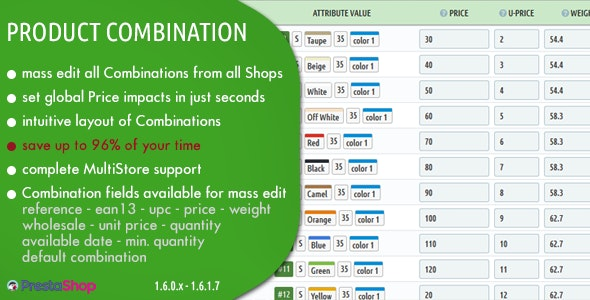 Product Combination - Manage Prices, Stock and Custom Fields of Combinations in Prestashop - CodeCanyon Item for Sale
