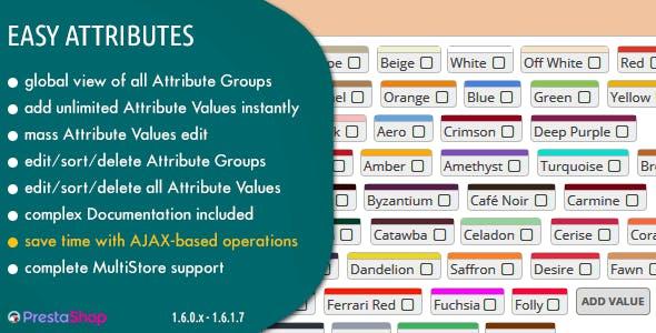 Easy Attributes - Build Unlimited Number of Attributes in Prestashop