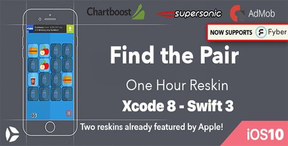 Find The Pair – One Hour Reskin - iOS 10 and Swift 3 ready