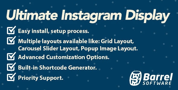 Ultimate Instagram Display for Wordpress - CodeCanyon Item for Sale