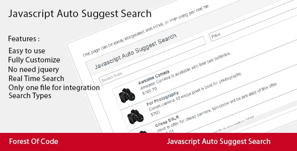 Javascript Auto Suggest Search by PerfectCode | CodeCanyon