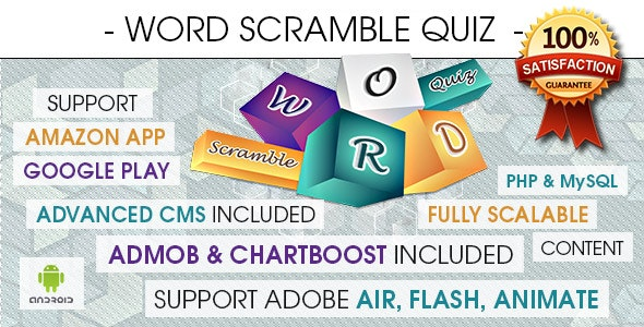 Word Scramble Quiz With CMS & Ads - Android by INVEDION