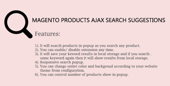 Magento Products Ajax Search Suggestions