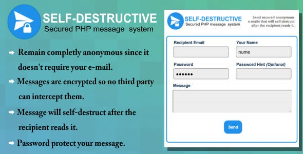 Self-Destruct E-mail message system