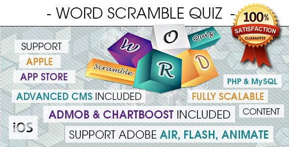 Word Scramble Quiz With CMS & Ads - iOS
