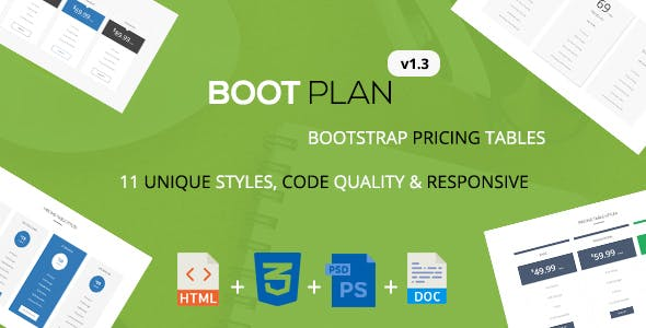 Bootplan - A Responsive Bootstrap Pricing Tables | v1.3