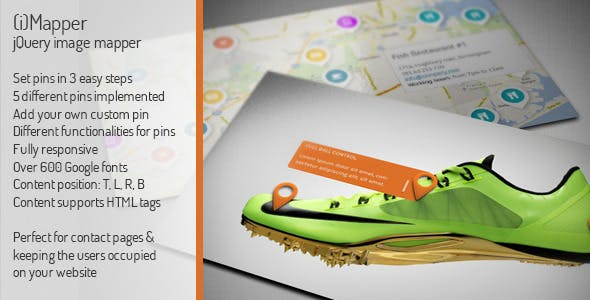 iMapper - jQuery/HTML5/CSS3 Image Mapper/ Pinner, Add Interactive Pins to Your Photos