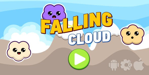 Falling cloud - HTML5 game + mobile. Cocoon ADS. Construct 2 (.capx)
