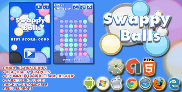 Swappy Balls - HTML5 match 3 Game - AdMob, Cocoon.io app ready - Construct 2 CAPX - CodeCanyon Item for Sale