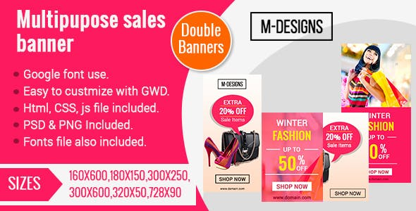 HTML5 Sales Banner Ad Templates(Two Banners)
