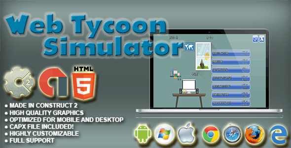 Web Tycoon Simulator - HTML5 Idle Upgrade Game - AdMob, Cocoon.io app ready - Construct 2 CAPX - CodeCanyon Item for Sale