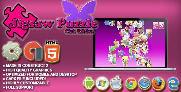 Jigsaw Puzzle : Girls Edition HTML5 Skill Game - AdMob, Cocoon.io app ready - Construct 2 CAPX