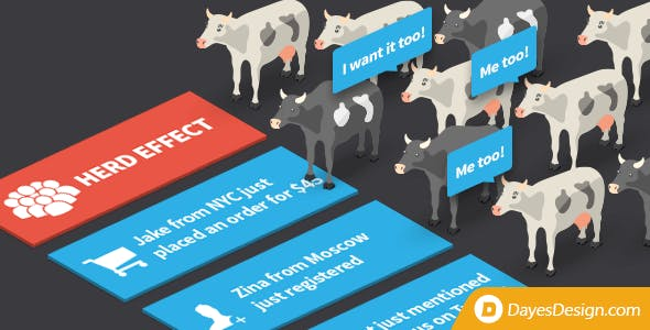 Herd Effect - fake notifications that stimulate user action