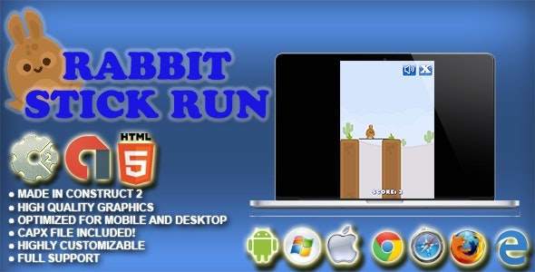Rabbit Stick Run HTML5 Survival Game - AdMob, Cocoon.io app ready - Construct 2 CAPX - CodeCanyon Item for Sale