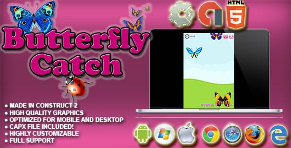 Butterfly Catch - HTML5 Survival Game - AdMob, Cocoon.io app ready - Construct 2 CAPX