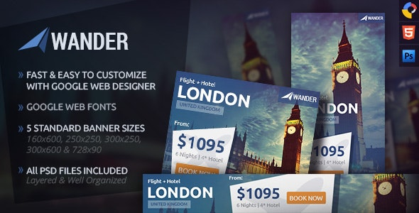 Wander - Travel HTML5 Ad Template - CodeCanyon Item for Sale