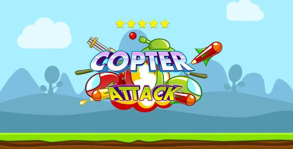 Copter attack - HTML5 game. Construct 2 (.capx)