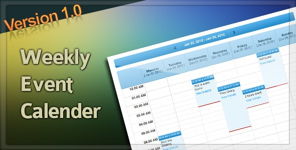 Weekly Calender - CodeCanyon Item for Sale