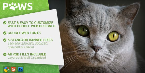 Paws - Pet Store HTML5 Ad Template