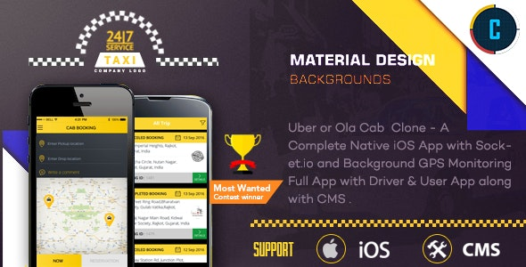 Taxi Booking App - A Complete Clone of UBER with User,Driver & Bacend CMS Coded with Native iOS - CodeCanyon Item for Sale