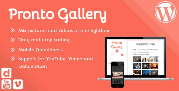 Pronto Gallery – sortable responsive image and video lightbox gallery for Wordpress