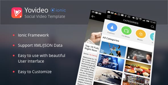YoVideo - Social network of video (ionic html5 hybrid app)