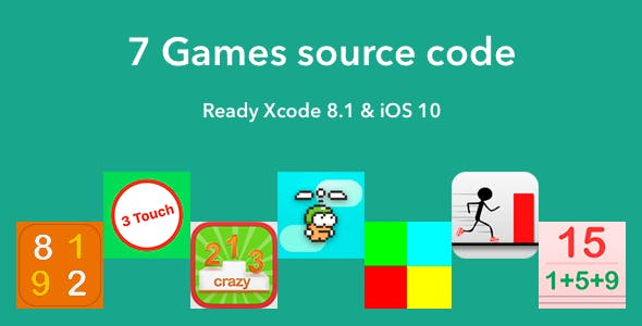 7 Games Source Code Xcode 8.1 & iOS 10+