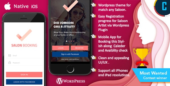 Saloon Booking iOS Native App with Wordpress Plugin with
