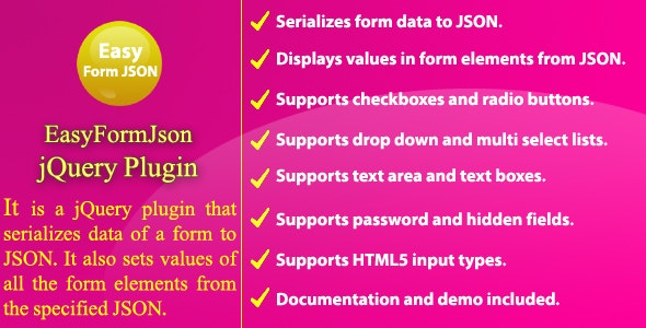 Easy Form JSON - jQuery Plugin - CodeCanyon Item for Sale