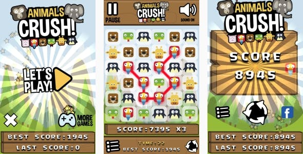 Animals Crush Match3 - HTML5 Game + Android + AdMob (Construct 3 | Construct 2 | Capx)