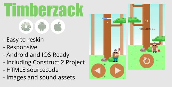 Timberzack : HTML5, Android, IOS, Construct 2 Included