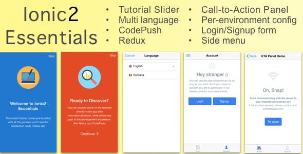 Ionic2Essentials: Starter app with Multi Language Support, Charts, CodePush, Redux and more