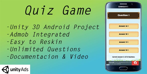 Quiz Game with unlimited questions and Category - Admob ads