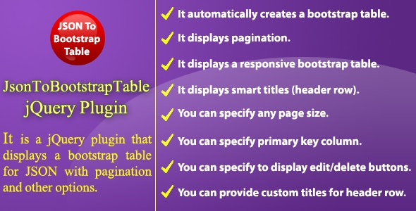 JSON To Bootstrap Table - jQuery Plugin by NajmulIqbal15 | CodeCanyon