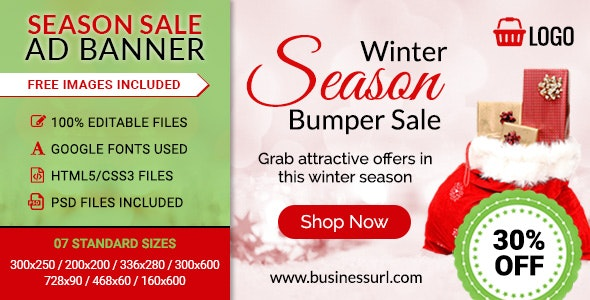 GWD | Winter SeasnSale HTML5 Banners - 07 Sizes - CodeCanyon Item for Sale