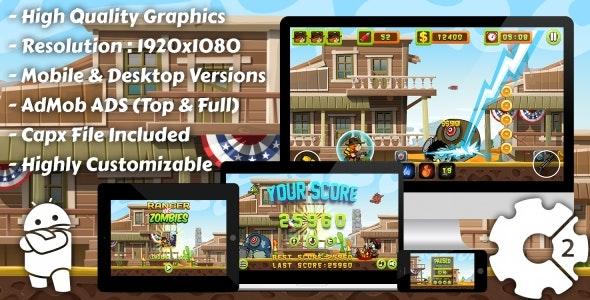 Ranger vs Zombies - HTML5 Game, Mobile Version+AdMob!!! (Construct 3 | Construct 2 | Capx) - CodeCanyon Item for Sale