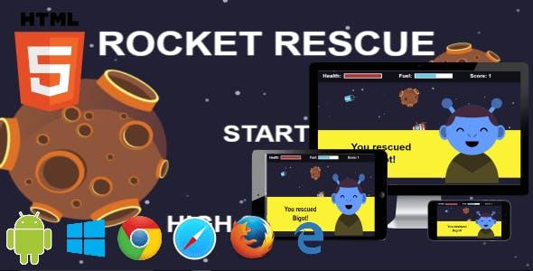 Rocket Rescue - HTML5 Phaser Mobile Arcade Game