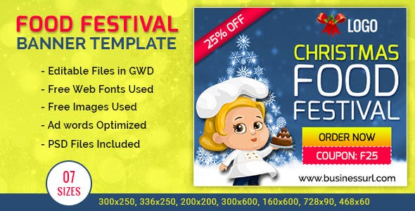 GWD | Festival Food Ordering HTML5  Banners - 7 Sizes